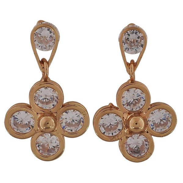 Bright Gold Stone Crystals Casualwear Drop Earrings - MCHUJE26FB164