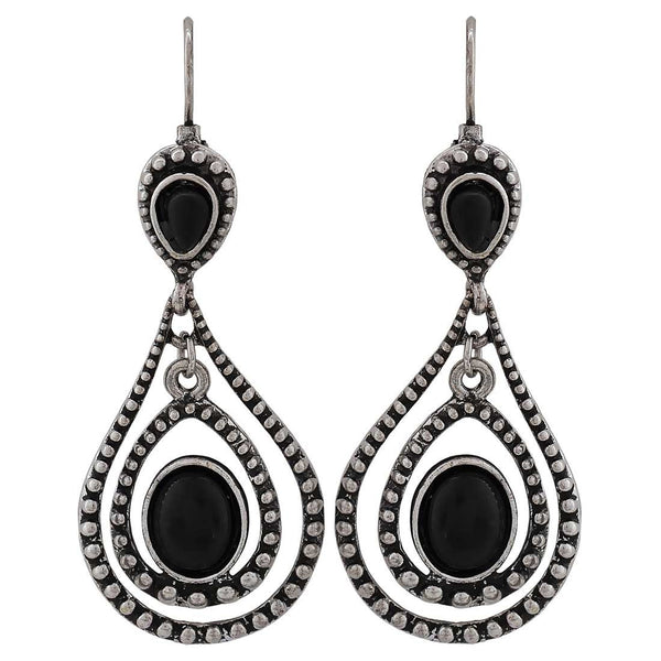 Superb Black Silver Designer Party Drop Earrings - MCHUJE26FB171