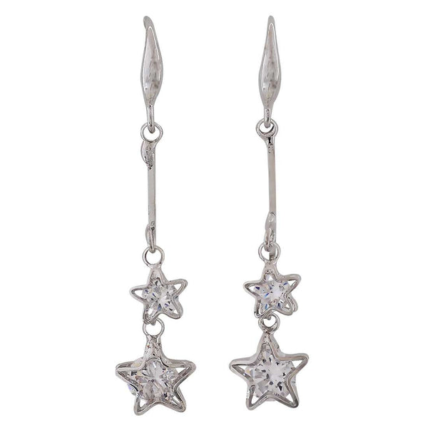 Class Silver Stone Crystals College Dangler Earrings - MCHUJE26FB190