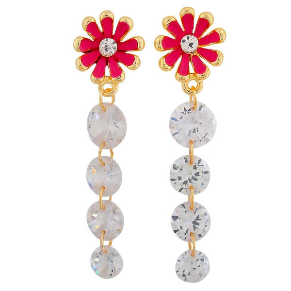 Smashing Pink Stone Crystals Party Drop Earrings - MCHUJE26FB196