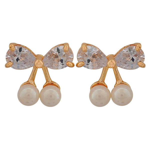 Sparkling White Gold Indian Ethnic Casualwear Stud Earrings - MCHUJE26FB204