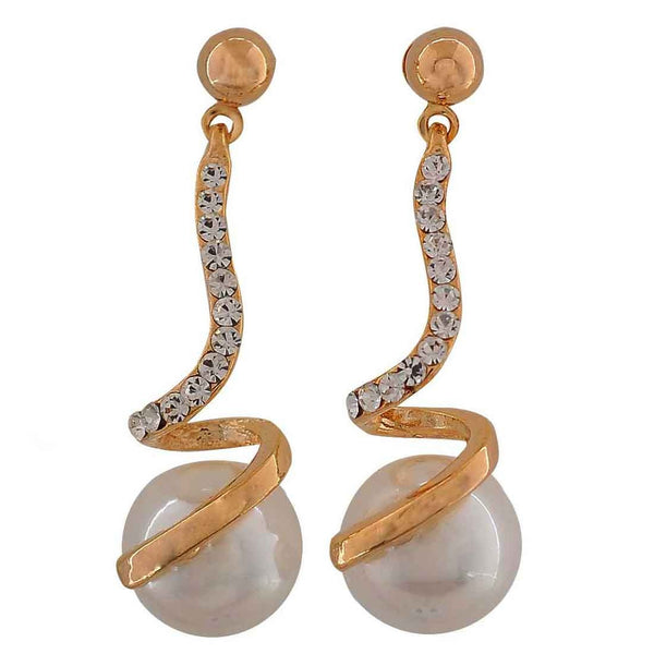 Exclusive White Gold Pearl Party Drop Earrings - MCHUJE26FB206