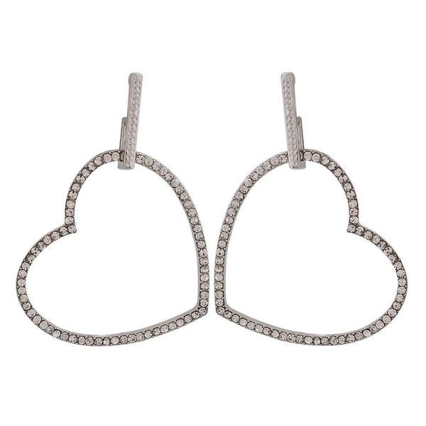 Beautiful Silver Stone Crystals Cocktail Drop Earrings - MCHUJE26FB212
