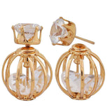Trendy Gold Stone Crystals College Stud Earrings - MCHUJE26FB215
