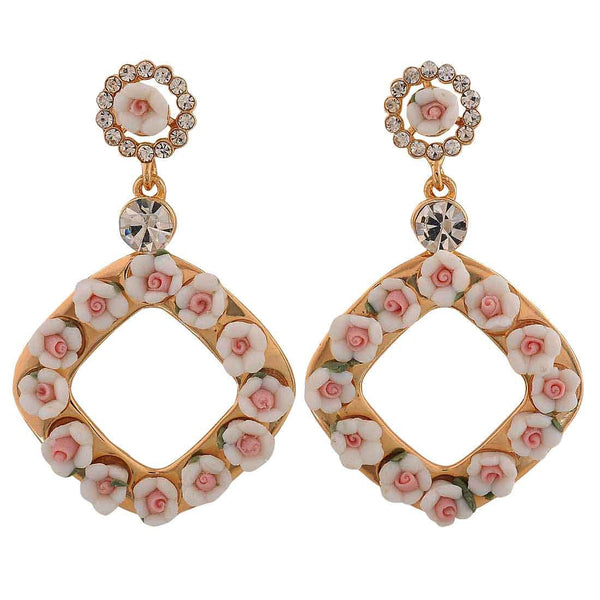 Charming White Pink Indian Ethnic College Drop Earrings - MCHUJE26FB225