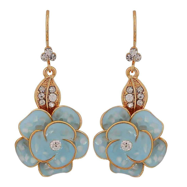 Simple Blue Gold Stone Crystals Get-together Dangler Earrings - MCHUJE26FB233