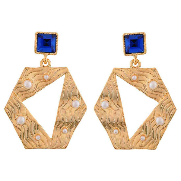 Darling Blue Gold Designer Cocktail Drop Earrings - MCHUJE26FB237