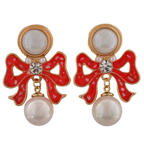 Elegant White Pink Pearl College Drop Earrings - MCHUJE26FB255