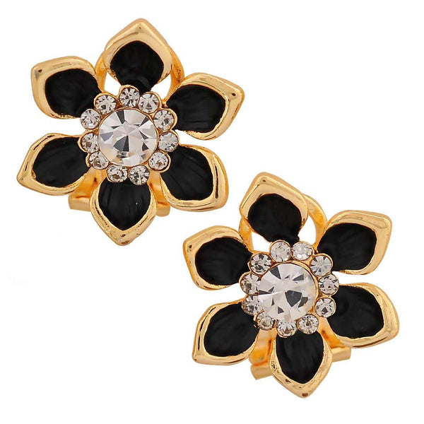 Great Black Gold Stone Crystals Cocktail Clip On Earrings - MCHUJE26FB262