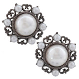 Dashing White Silver Pearl Casualwear Stud Earrings - MCHUJE26FB274