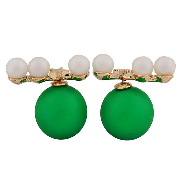 Trendy Green White Pearl Party Drop Earrings - MCHUJE26FB321