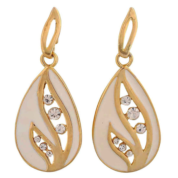 Cool Off-White Stone Crystals Casualwear Drop Earrings - MCHUJE26FB324