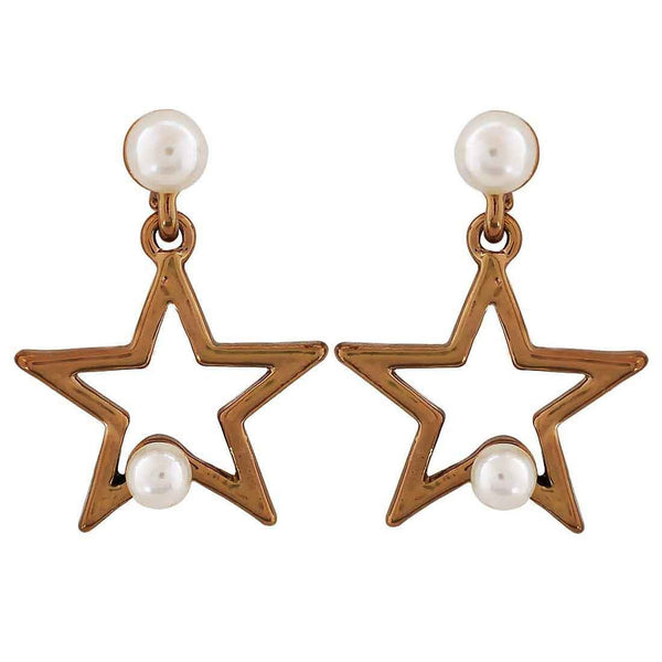 Chic White Bronze Pearl Cocktail Drop Earrings - MCHUJE26FB332