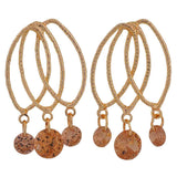 Amazing Orange Gold Stone Crystals Party Drop Earrings - MCHUJE26FB336