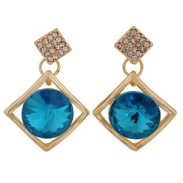 Class Blue Gold Stone Crystals Casualwear Drop Earrings - MCHUJE26FB349