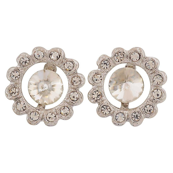 Fabulous Silver Stone Crystals Get-together Stud Earrings - MCHUJE26FB353