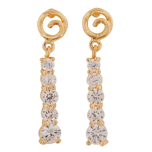 Sizzling Gold Stone Crystals Party Drop Earrings - MCHUJE26FB356