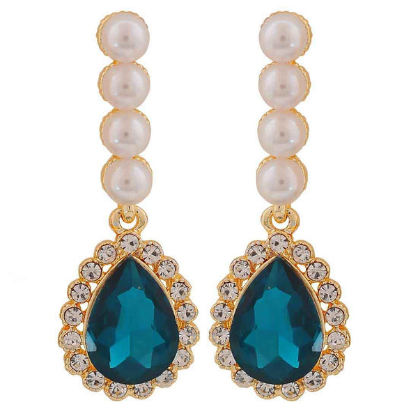 Stunning Blue White Indian Ethnic Cocktail Drop Earrings - MCHUJE26FB357