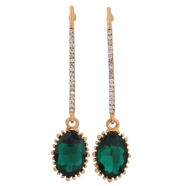 Lovely Green Stone Crystals College Drop Earrings - MCHUJE26FB370
