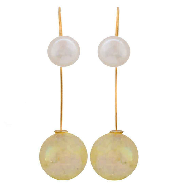 Exquisite Yellow White Designer Get-together Drop Earrings - MCHUJE26FB373