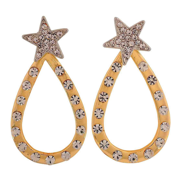 Classy Gold Silver Designer Get-together Drop Earrings - MCHUJE26FB378