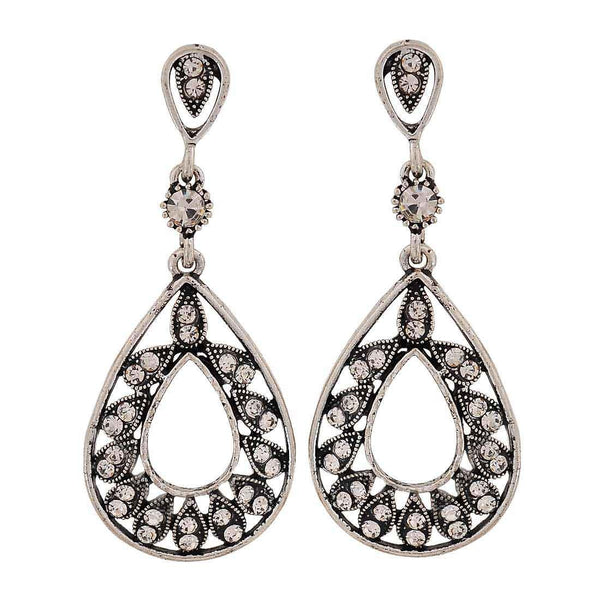 Sober Silver Stone Crystals Get-together Drop Earrings - MCHUJE26FB393