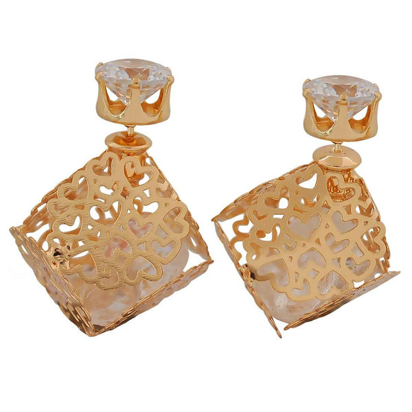 Classic Gold Designer College Stud Earrings - MCHUJE26FB415