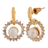 Bright White Gold Pearl Casualwear Drop Earrings - MCHUJE26FB429