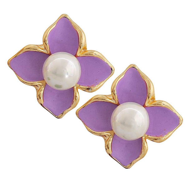Special Purple White Pearl Party Clip On Earrings - MCHUJE26FB441