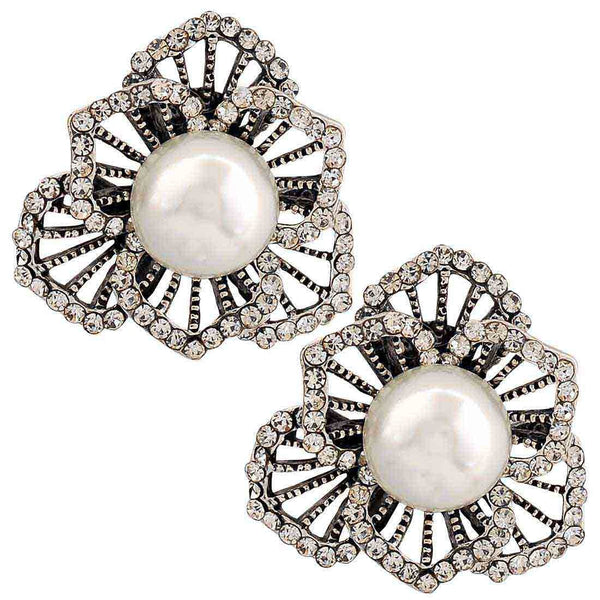 Amazing White Silver Pearl Cocktail Stud Earrings - MCHUJE26FB442