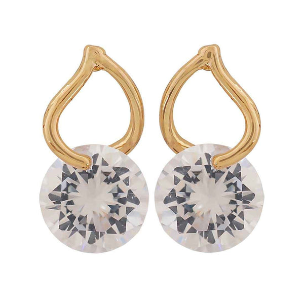 Terrific Gold Stone Crystals Cocktail Stud Earrings - MCHUJE26FB457
