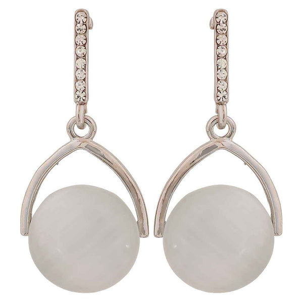 Exclusive White Silver Pearl Party Drop Earrings - MCHUJE26FB471