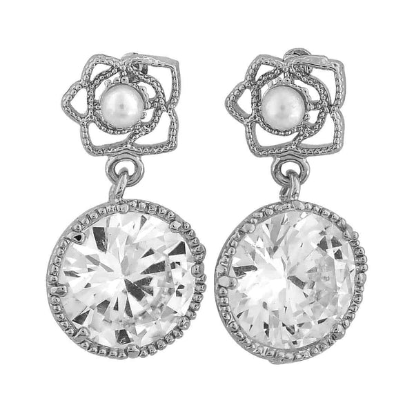 Superb Silver Stone Crystals Casualwear Drop Earrings - MCHUJE26FB489