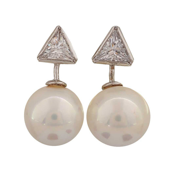 Plush White Silver Pearl College Stud Earrings - MCHUJE26FB505
