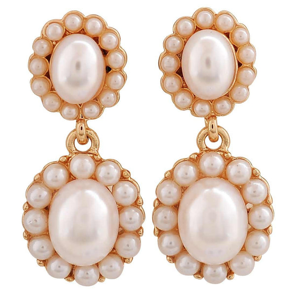 Graceful White Pearl Party Drop Earrings - MCHUJE26FB526