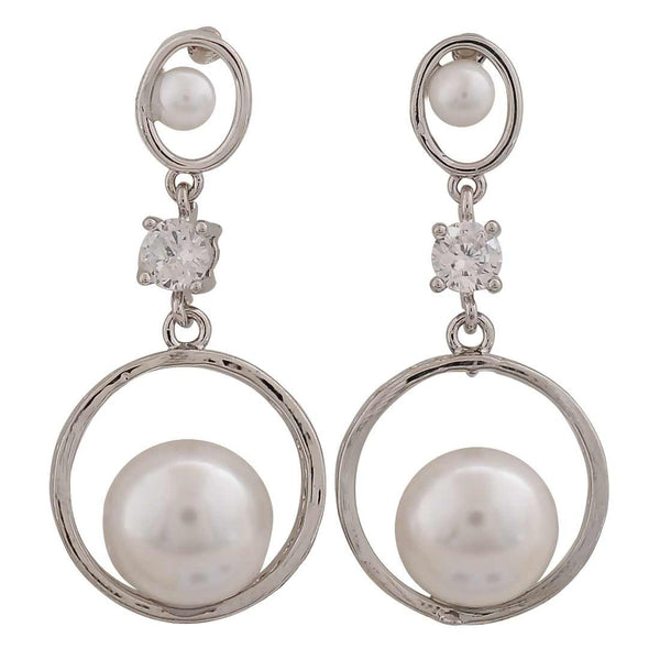 Exquisite White Silver Pearl Cocktail Drop Earrings - MCHUJE26FB532