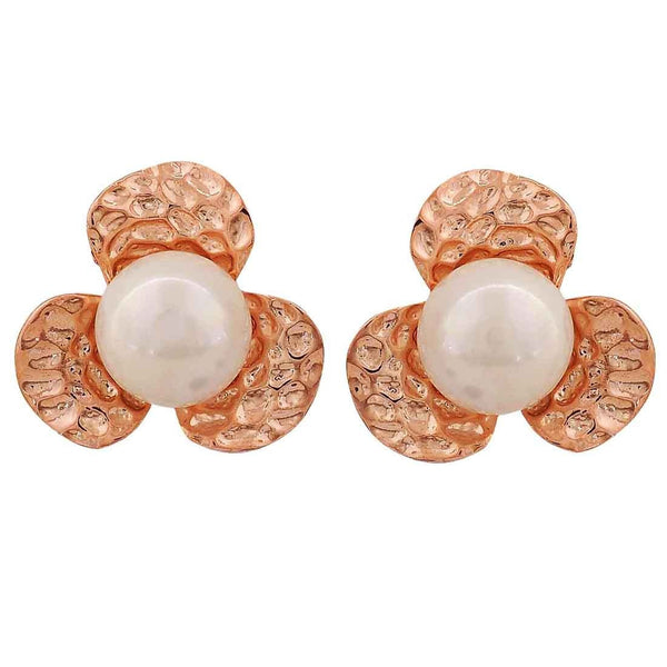 Trendy White Bronze Pearl Get-together Clip On Earrings - MCHUJE26FB533