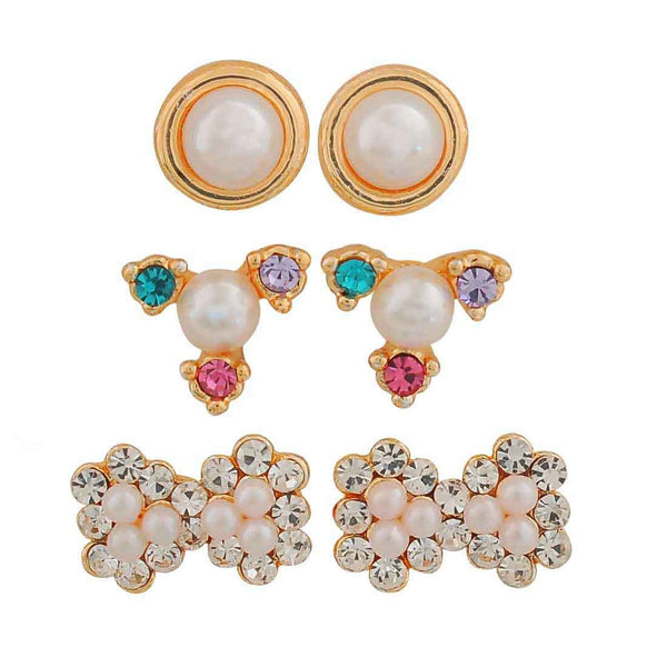 Chic Multicolour Pearl Casualwear Stud Earrings - MCHUJE26FB544