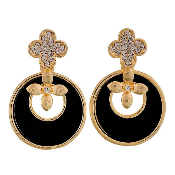 Sexy Black Gold Indian Ethnic College Drop Earrings - MCHUJE26FB560