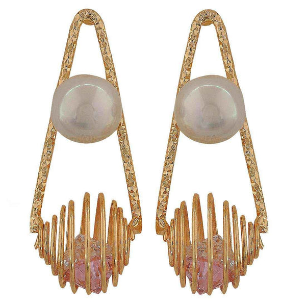 Unique Pink White Pearl Cocktail Drop Earrings - MCHUJE26FB562