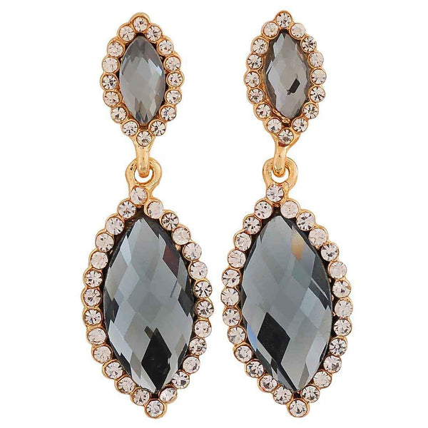 Sparkling Grey Kundan College Drop Earrings - MCHUJE26FB575