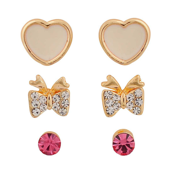Classy White Pink Indian Ethnic College Stud Earrings - MCHUJE26FB590