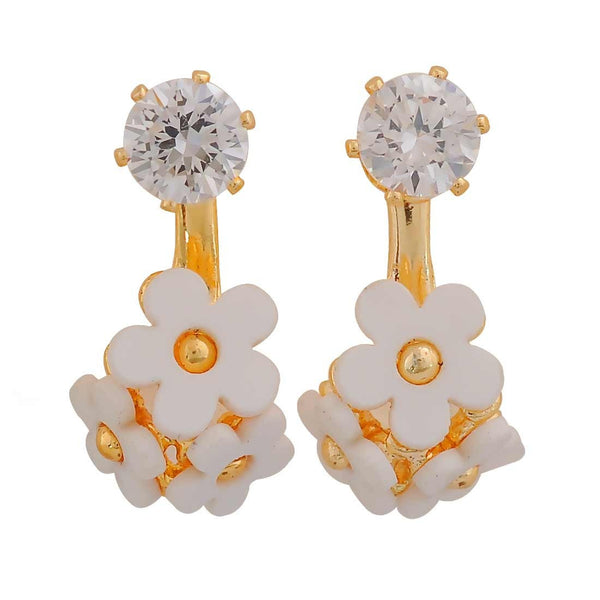 Plush White Gold Stone Crystals Party Drop Earrings - MCHUJE26FB611
