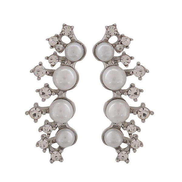 Sexy White Silver Pearl Get-together Drop Earrings - MCHUJE26FB613
