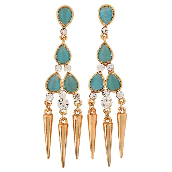 Pretty Blue Gold Stone Crystals Casualwear Drop Earrings - MCHUJE26FB624