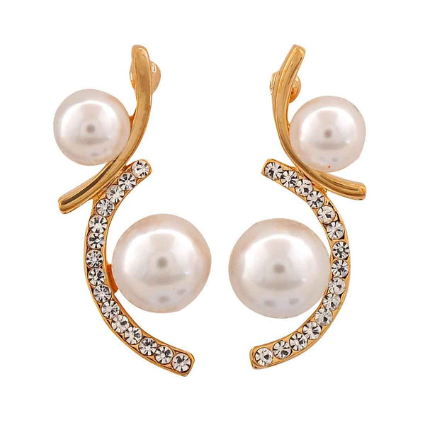 Elegant White Gold Pearl Party Drop Earrings - MCHUJE26FB626