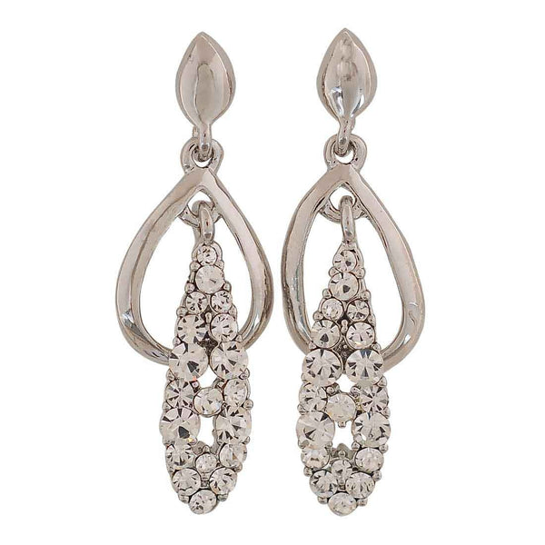 Stylish Silver Stone Crystals Casualwear Drop Earrings - MCHUJE26FB629