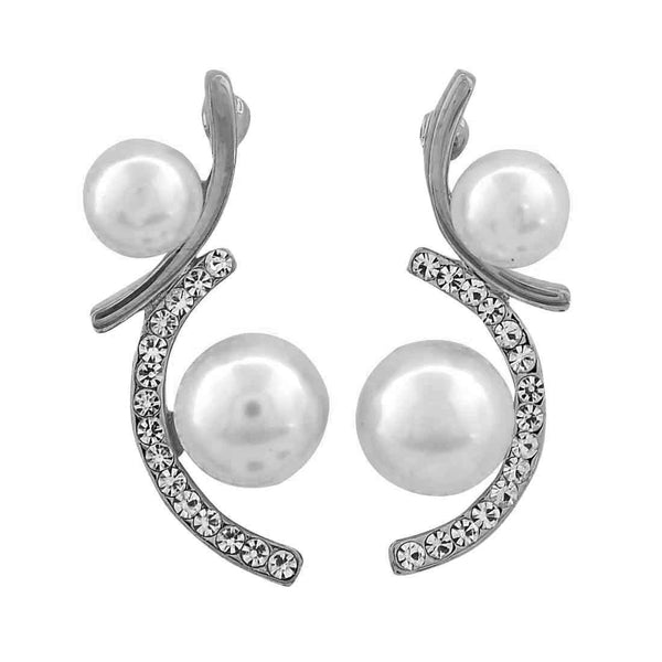 Lively White Silver Pearl Party Drop Earrings - MCHUJE26FB631