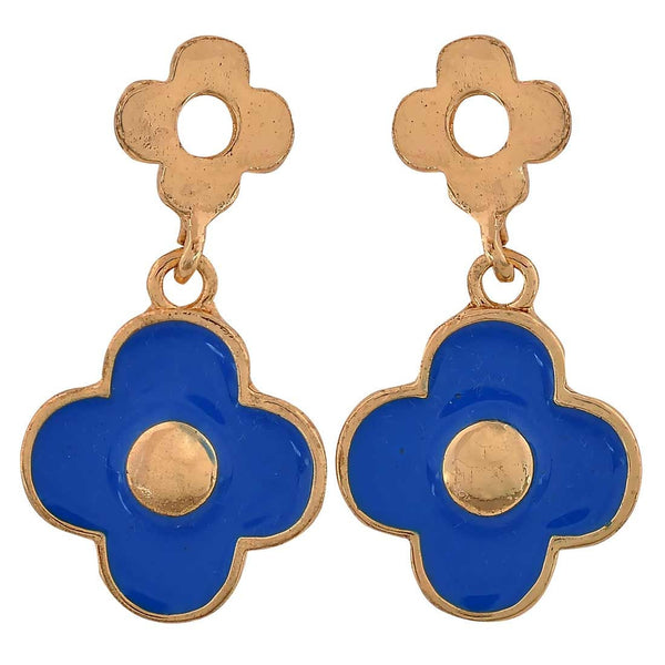 Modern Blue Gold Designer Cocktail Drop Earrings - MCHUJE26FB653