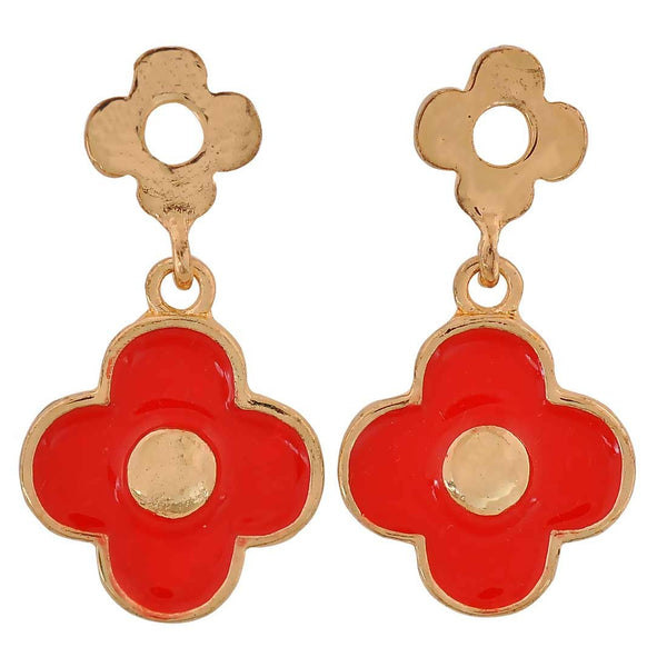 Sober Red Gold Designer Get-together Drop Earrings - MCHUJE26FB659